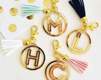 Gold Monogram Acrylic Keychain - Bridesmaid Gifts - Maid Of Honor Gifts - Charm Accessories (EB3140)