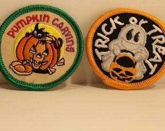 Halloween Patch Pack (2) - pumpkin carving trick or treat candy jack-o-lantern scout kjallraven Hershel