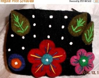 HOLIDAY SALE Handmade felted mini purse for makeup/lipstick/cash/cards/medicine etc