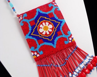 Beaded Mexican Tile Amulet Bag