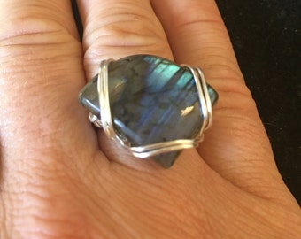 Labradorite ring wire wrapped in silver size 7 1/2