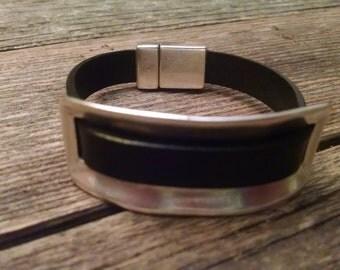 Black with Silver Slide Bracelet