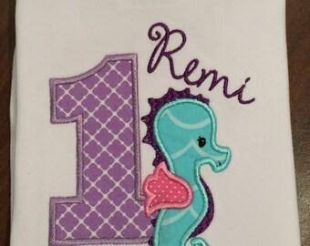 Seahorse birthday party, applique t shirt