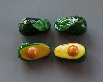 1 (one) piece Avocado / Vegetable/ organic lampwork bead / craft supplies/ beading / Vegan