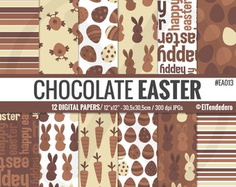 Easter digital paper pack, with easter patterns - Chocolate Easter digital papers - Easter printables - Digital scrapbook -