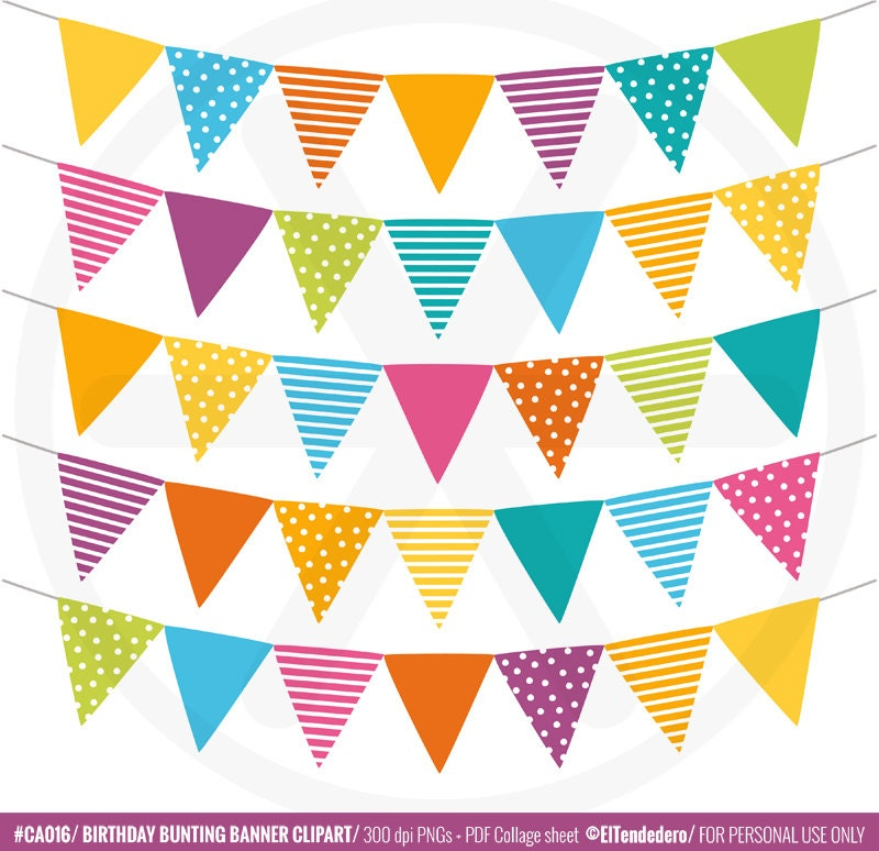 Bunting Banner Clipart Pack Birthday Clip Art Party Banner