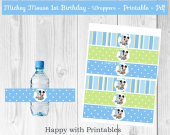 Mickey Mouse 1st bday Bottle Wrappers - Baby Mickey Mouse bottle wrappers - Mickey Mouse party - Mickey Mouse 1st birthday - Baby Mickey
