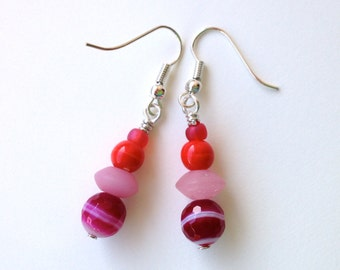 Hot Pink Dangle Earrings, Cute  Earrings, Colorful Earrings, Handmade Beaded Jewelry