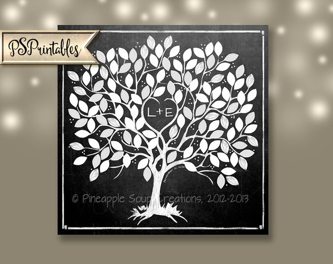 Wedding Tree - Personalized Downloadable Chalkboard Style Guestbook Alternative - 4 sizes available