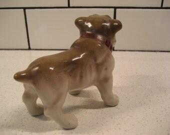 Vintage Porcelain Bulldog - made in Japan - Midcentury Bulldog - Red Collar - Vintage China Figurine