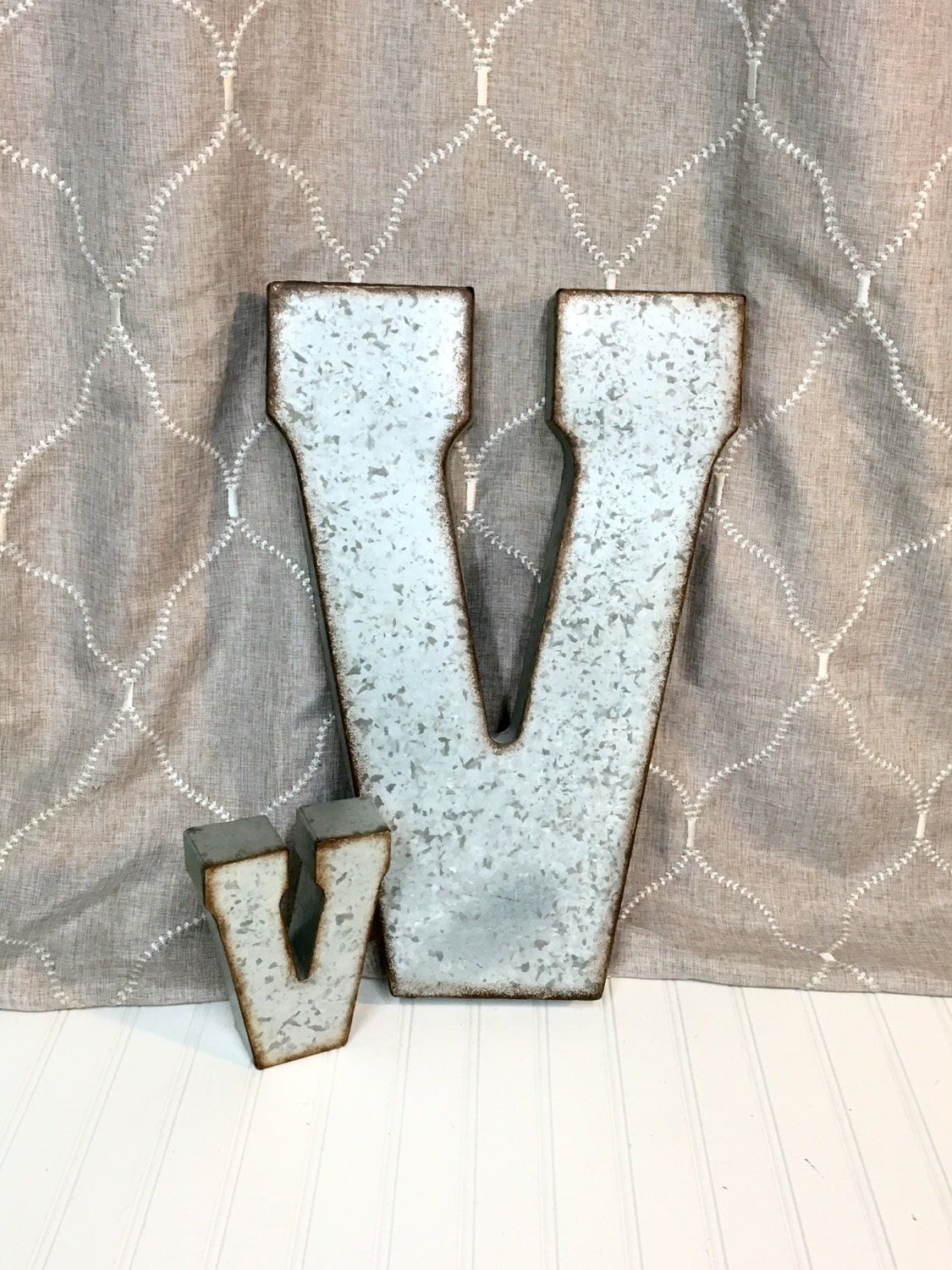 Large metal letters letter v galvanized for Giant galvanized letters