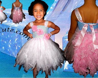Feather Bustle Pink Princess Tutu Dress