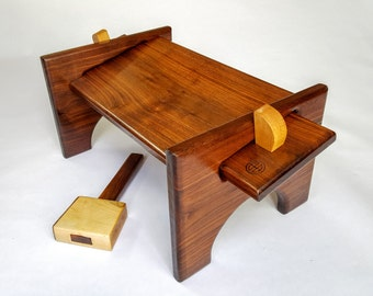 Walnut Meditation Bench with knock-down maple tusks