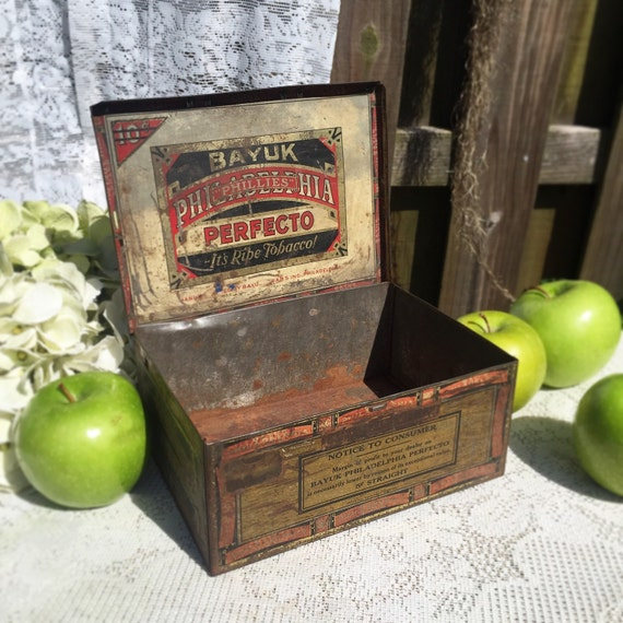 Antique Bayuk Philadelphia Perfecto Cigar Tin Box Advertising