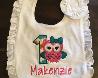 1st Birthday Bib // Owl Birthday Bib