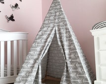 Kids Teepee Play Tent in Grey Arrow Canvas -Childrens teepee tent, toddler gift, boy teepee, play teepee,nursery decor, kids room, tipi tent