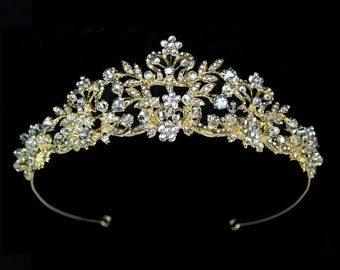 Gold champagne wedding tiara, gold bridal crown, gold bridal tiara, gold wedding headpiece