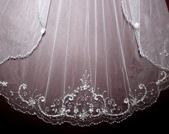 FREE SHIPPING - chapel veil, chapel length veil, or cathedral length bridal veil, wedding veil, crystal wedding veil, chapel beaded veil