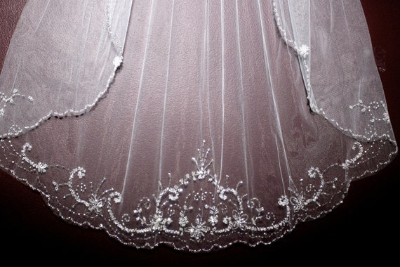Beaded Cathedral Veil Beaded Cathedral Wedding Veil Crystal