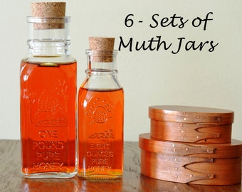 Set of 6 Small (8-oz) and 6 Large (16-oz)-12 Pieces Total- Muth Honey Jars With Corks-Honey Jar-Glass Replica Muth Jar-Classic Honey Jar