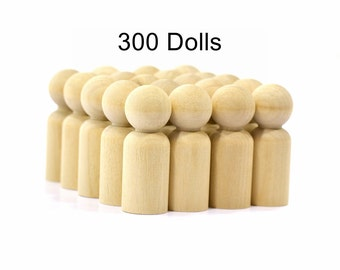 """DAD Wood Peg Dolls-(300 Dads)-2-3/8 """"(6.0325 cm)-Solid Hardwood Quality Turnings-Unfinished Craft Parts-Waldorf People-LPDAD"""