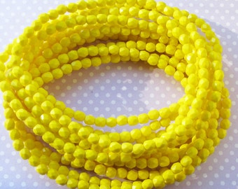 Czech Fire Polished Glass Beads, pk of 50, Opaque Yellow, 5mm