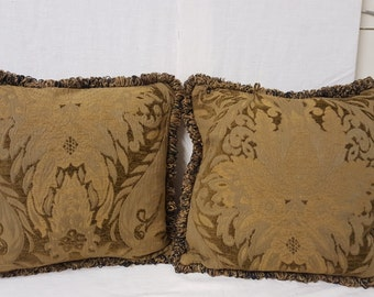 Green Cashmere pillow cover with Fringe 17x17