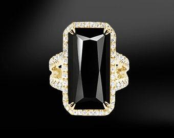 BLACK TOURMALINE & DIAMOND Gold Ring