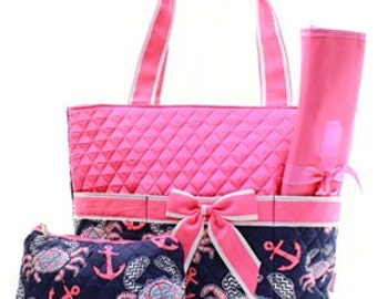 Quilted Crab 3pc Diaper Bag Set  with free monogram