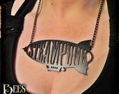 Steampunk Airship Necklace - Laser Cut Acrylic - Black