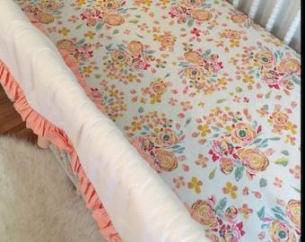 Crib Bedding, Crib Sheet, design your own, nursery decor, fitted crib sheet, pink, magenta, fuschia, baby pink, floral