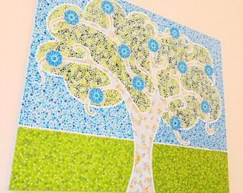 Mandala canvas wall art painting. Tree of life original handpainted. Modern contemporary Hippy dot art.  House & Home decor. Arty Gift ideas