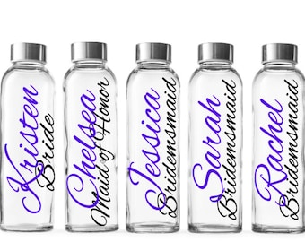 Bridesmaid water bottle glass,  bridesmaid gift, personalized tumbler, mother of the bride, maid of honor