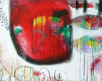 """Giclee Print of abstract painting with neon red, green and white, modern painting """"1-2-3-4"""""""