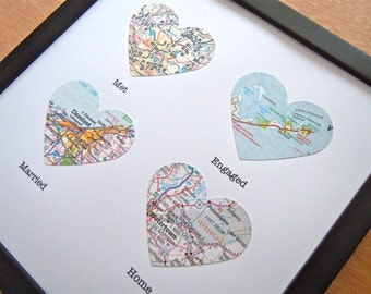 4 Framed Heart Maps With Text - Choose Your Maps - Map Art - Custom Gift for Traveler - Wedding or Anniversary Gift - Heart Shaped Maps