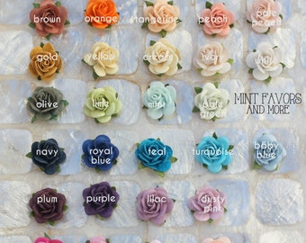 Flower embellishments, roses, wedding favors, embellishments, escort cards, decorations for favors, cards, holiday, scrapbooking and more