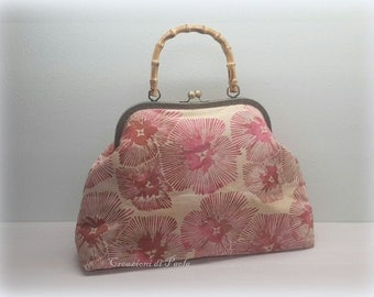 Batik fabric handbag Pink Purple tones