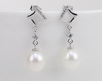 Pearl drop earings,8mm ivory white genuine freshwater pearl earrings,bridal pearl earrings,real pearl earrings,pearl drop earrings wedding