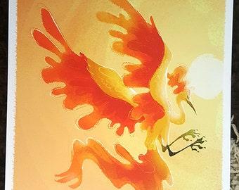 "8x10"" Pokemon go legendary bird Moltress Pheonix fine art print"