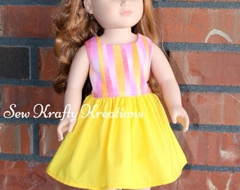 "Pink and Yellow Stripe Doll Dress for 18"" doll like American Girl"