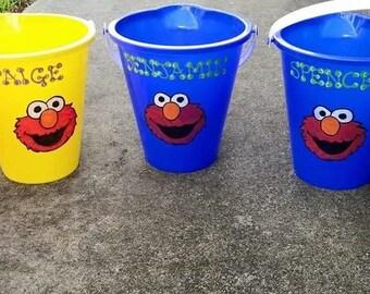 Custom Sesame Street Buckets, Personalized Elmo Buckets, Sesame Street Character Buckets