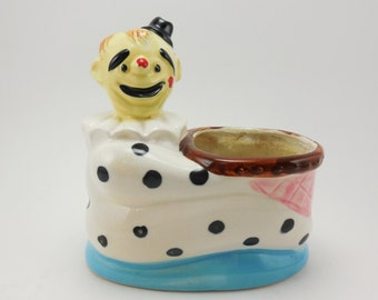 Ceramic Clown Planter Vintage Pen Pencil Holder Organizer Black White Polka Dots Pink Basket Made in Japan