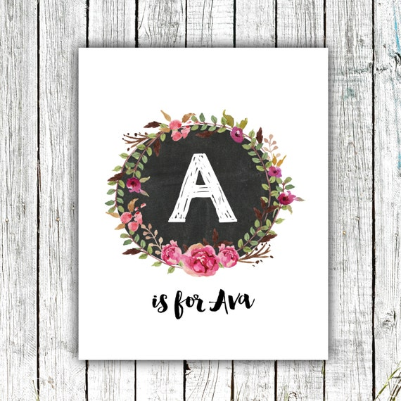 Nursery Art Monogram, Floral Wreath, Water Color, Baby Girl, Personalized, Digital Download Size 8x10 #3