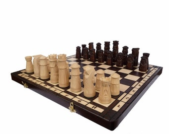 Elegant big chess chess game 50 x 50 hand carved new wood exclusive