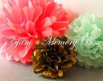 12 Custom Handmade Tissue Paper Pom Poms / Coral Pink Mint and Gold Tissue Pompoms / Mint and Gold Pom poms