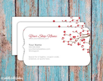 Business Cards - Custom Business Cards - Personalized Business Cards - Mommy Calling Cards - Red Blossom - P0112-7