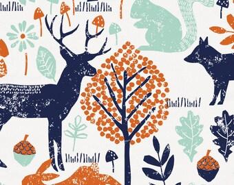 Navy and Orange Woodland Animals Organic Fabric - By The Yard - Girl / Boy / Gender Neutral