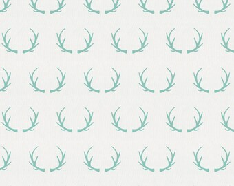 Mint Antlers Organic Fabric - By The Yard - Gender Neutral / Deer / Fabric