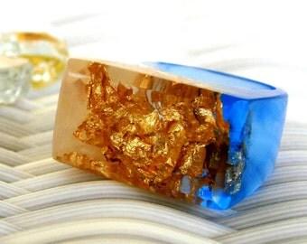 Tanzanite Resin Rings, Blue Gemstone Resin Rings, Gold Leaf Rings, Fashion Rings, Contemporary Rings, OOAK Rings, Blue Rings, ResinHeavenUSA