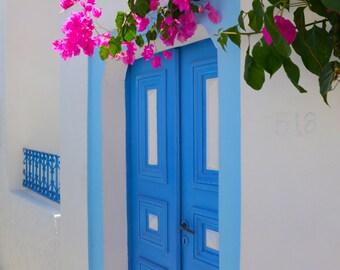 Greece Photography, Greece, Santorini Greek Islands, Colorful Door, Wall Art, Fine Art Photography, Large Wall Art, Living Room